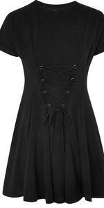 NWT Topshop Corset Front Flippy Tunic Dress Black